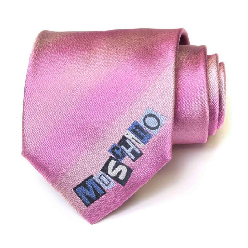 Розовый галстук с надписью Moschino в полоску