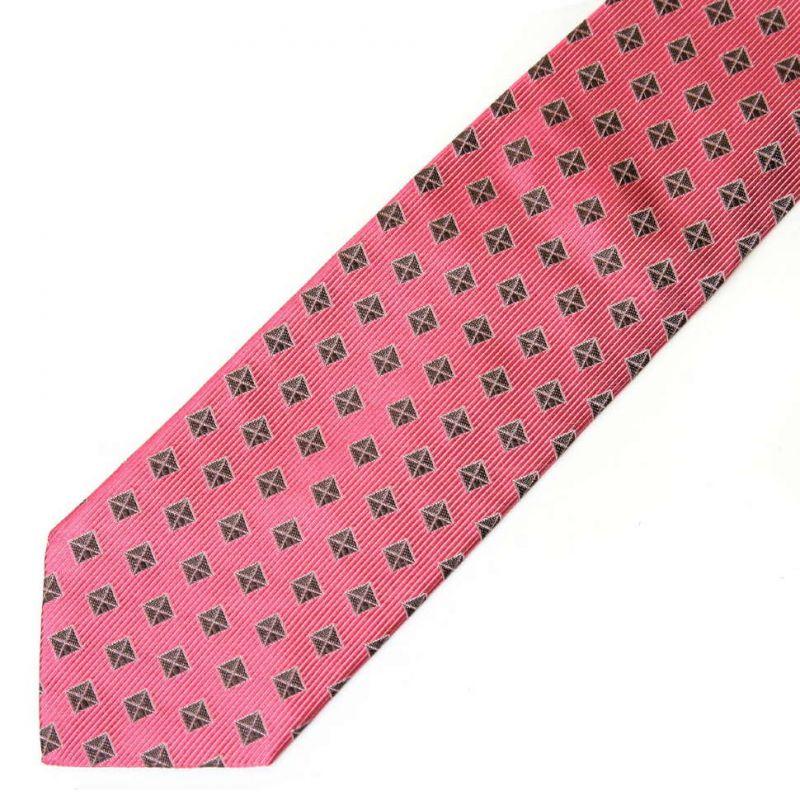 Розовый шёлковый галстук Moschino с клетками