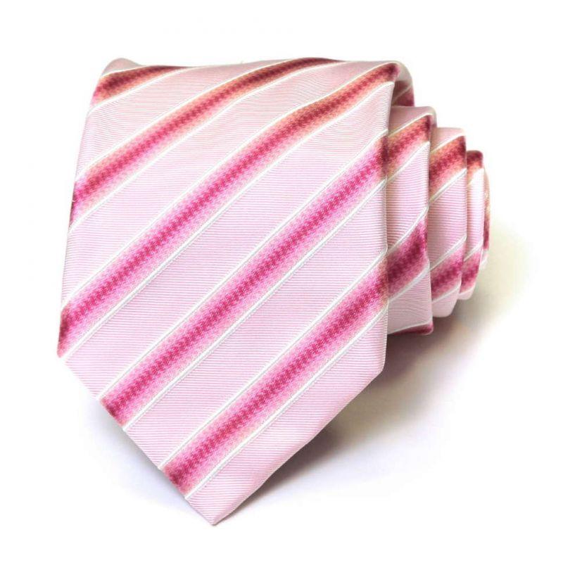 Нежно-розовый шёлковый галстук Moschino в полоску