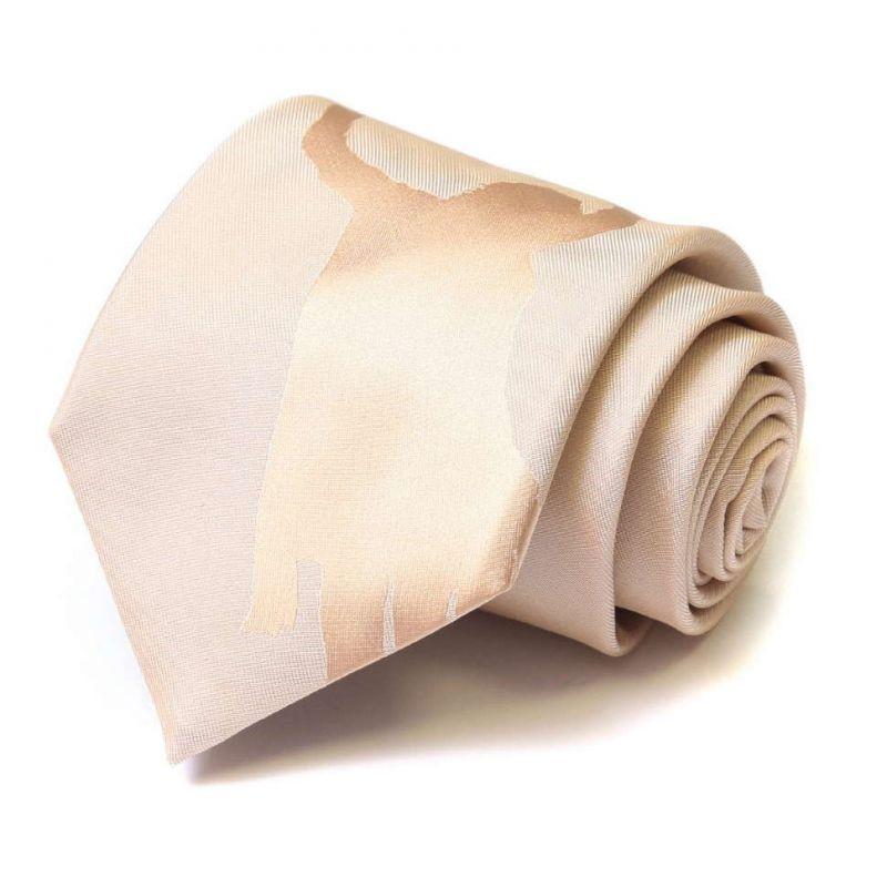 Бежевый шёлковый галстук Moschino с рисунком