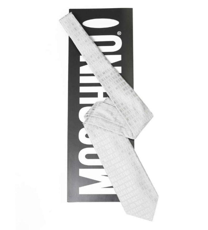 Серебристый шёлковый галстук с надписями Moschino