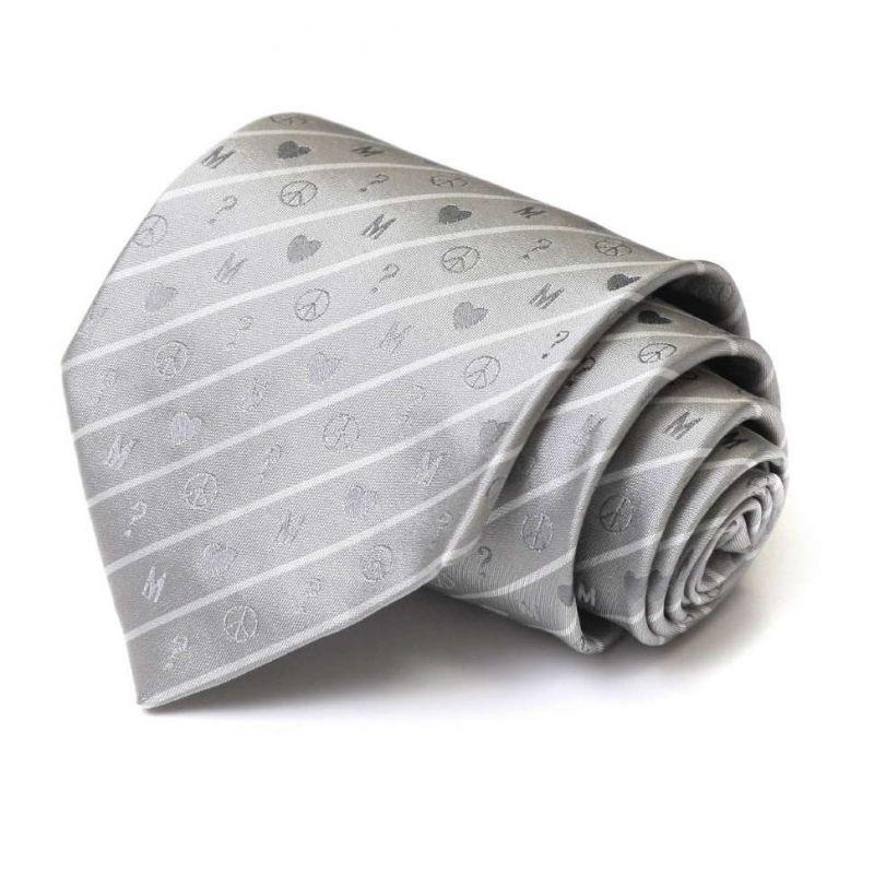 Светло-серый галстук Moschino из шёлка со значками