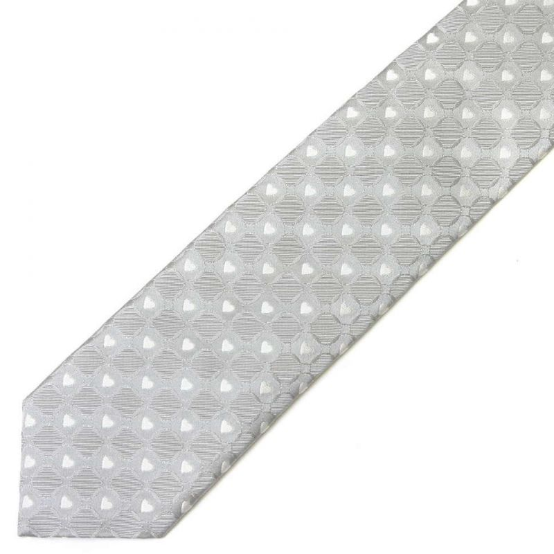 Серебристый шёлковый галстук Moschino с сердечками