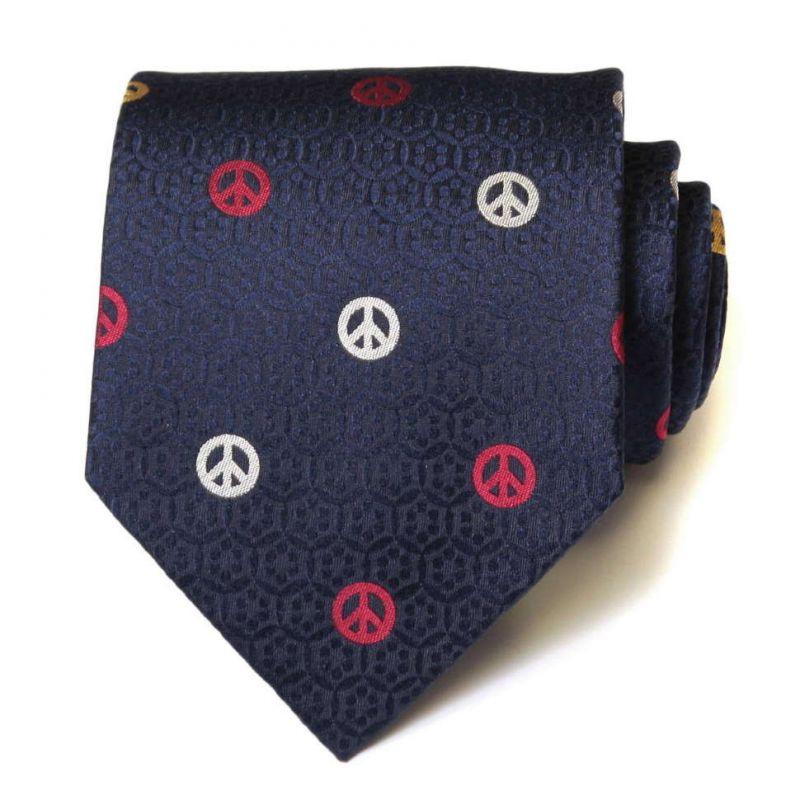 Синий шёлковый галстук Moschino со значками «пацифик»