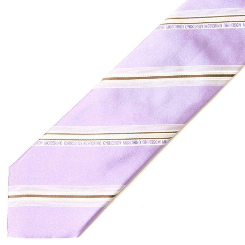 Сиреневый шёлковый галстук Moschino в полоску