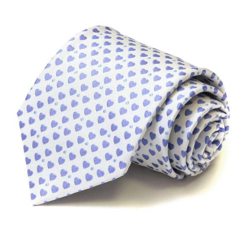 Белый шёлковый галстук Moschino с голубыми сердечками