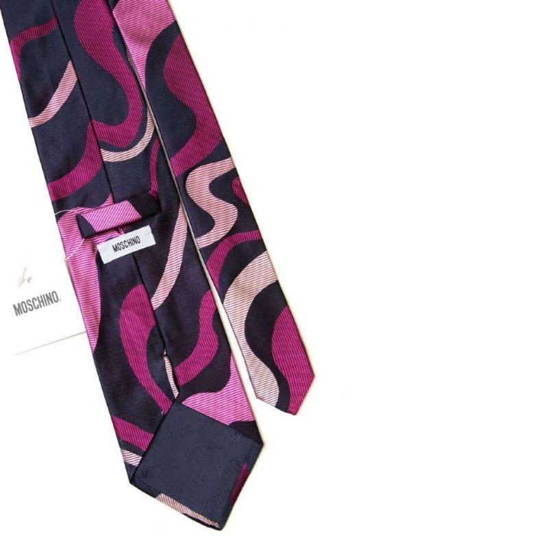 Шёлковый галстук Moschino с абстрактным розовым принтом