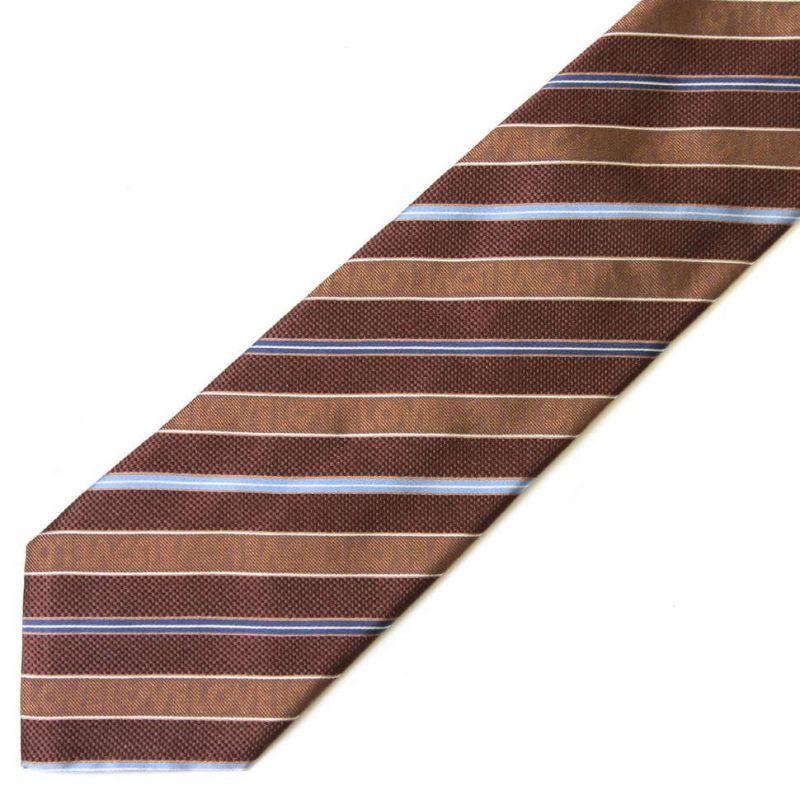 Коричневый шёлковый галстук Moschino в полоску