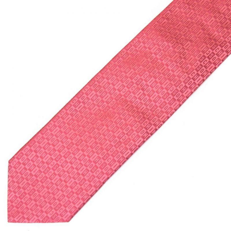 Розовый шёлковый галстук Moschino с мелким принтом
