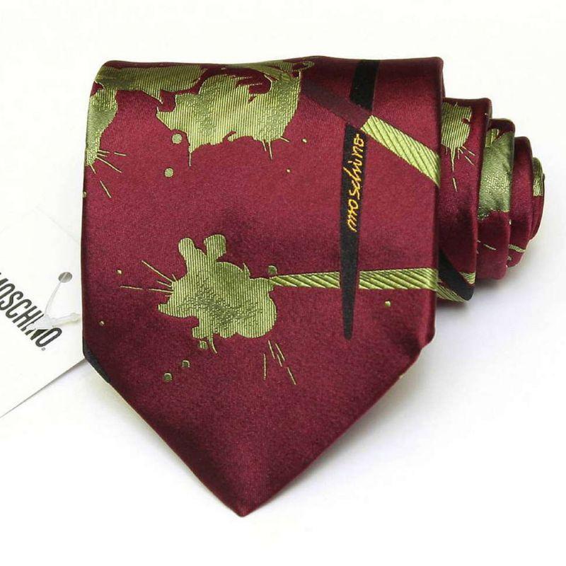 Коричневый шёлковый галстук Moschino с салатовыми брызгами