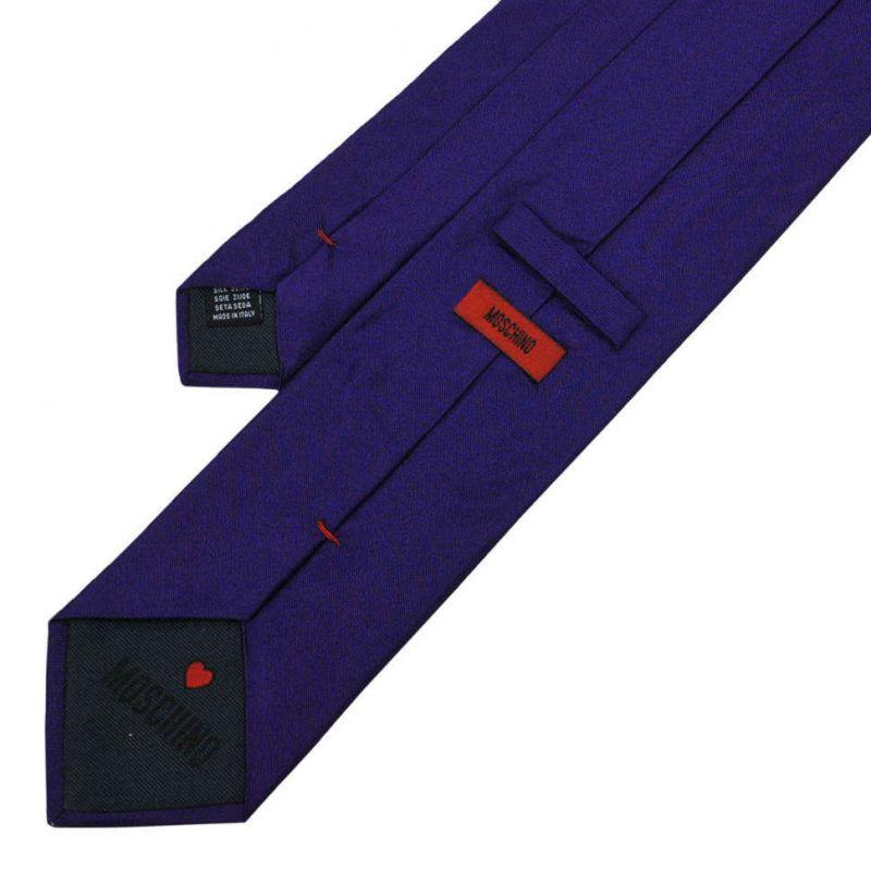 Фиолетовый шёлковый галстук Moschino с вышивкой - короной