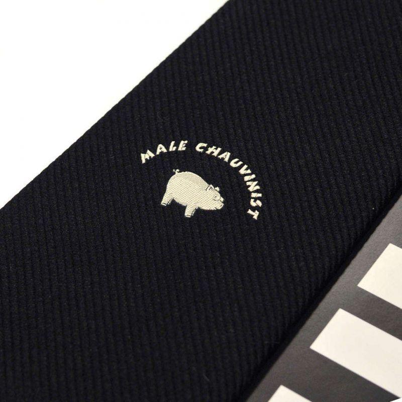 Чёрный шёлковый галстук Moschino с вышивкой