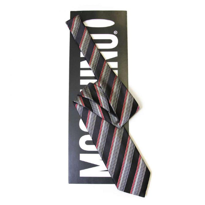 Серый шёлковый галстук Moschino в полоску