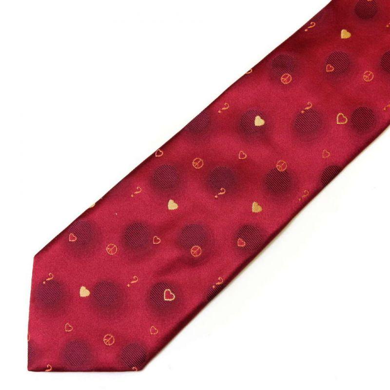 Красный шёлковый галстук Moschino в горошек