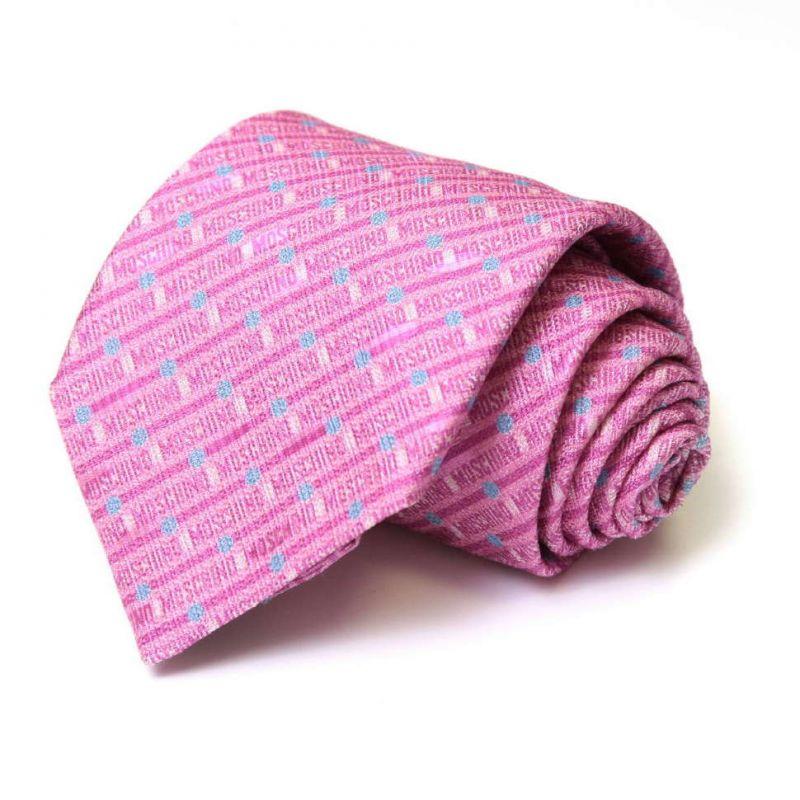 Розовый шёлковый галстук Moschino с мелким рисунком
