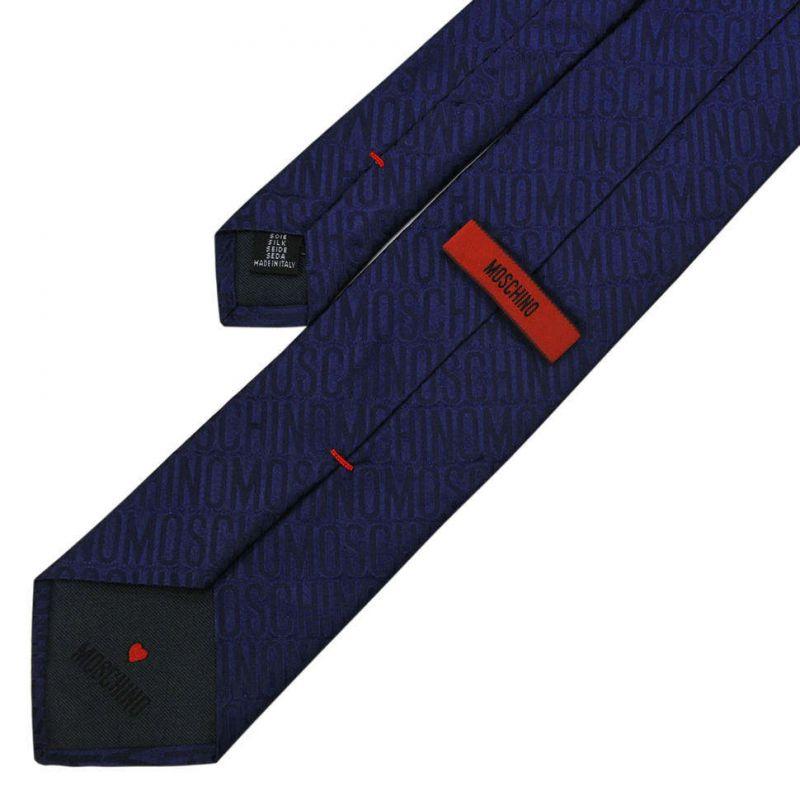 Тёмно-синий шёлковый галстук с надписями Moschino