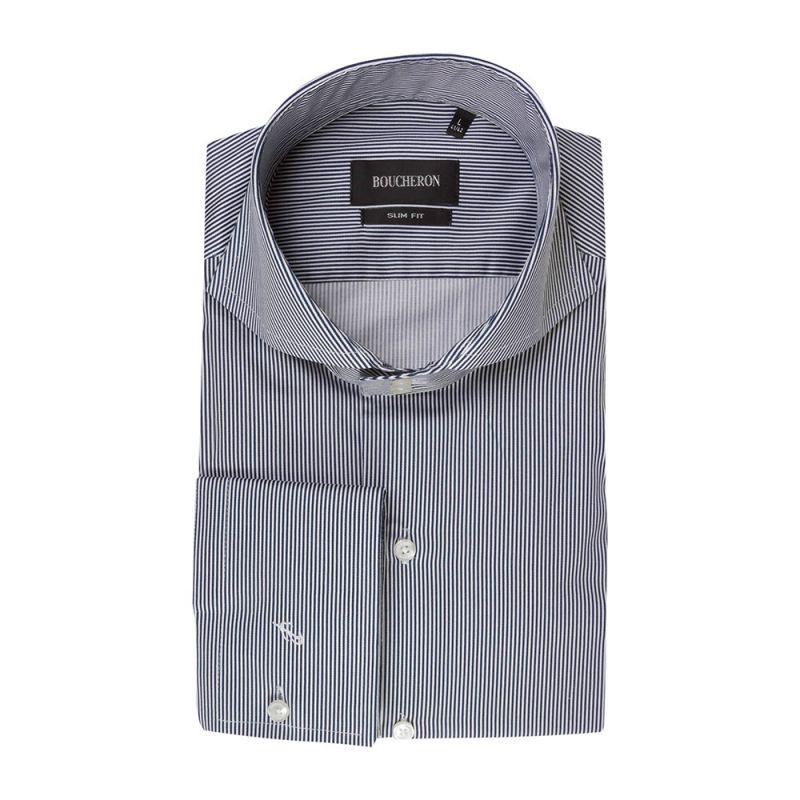 Рубашка тёмно-синяя в полоску приталенная