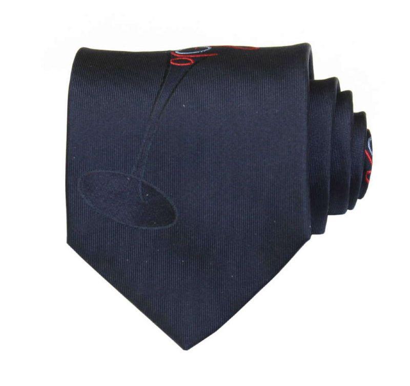 Тёмно-синий шёлковый галстук Moschino с бокалом