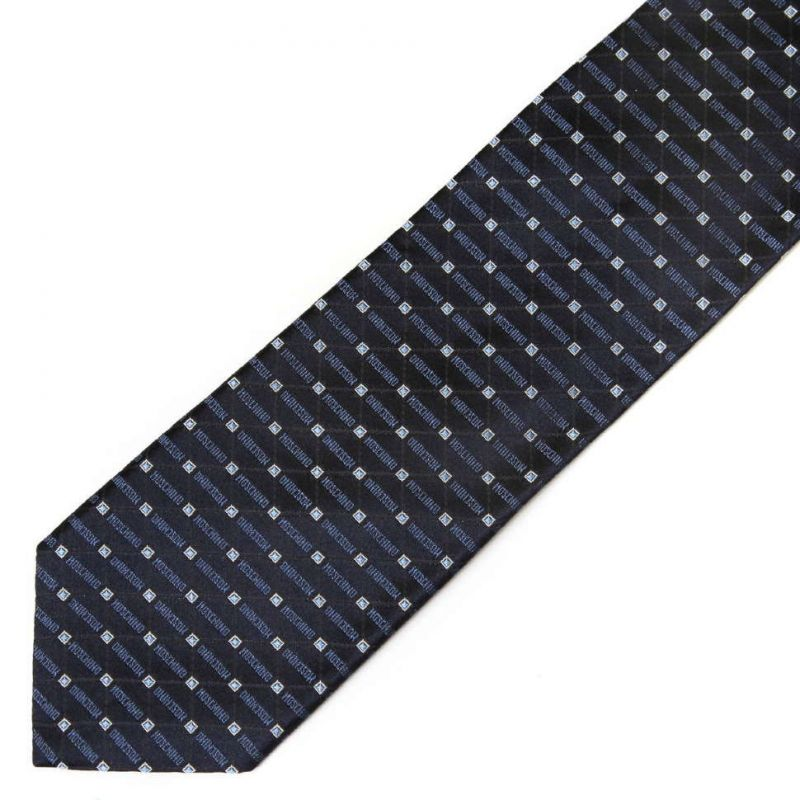 Тёмно-синий шёлковый галстук Moschino с мелким рисунком