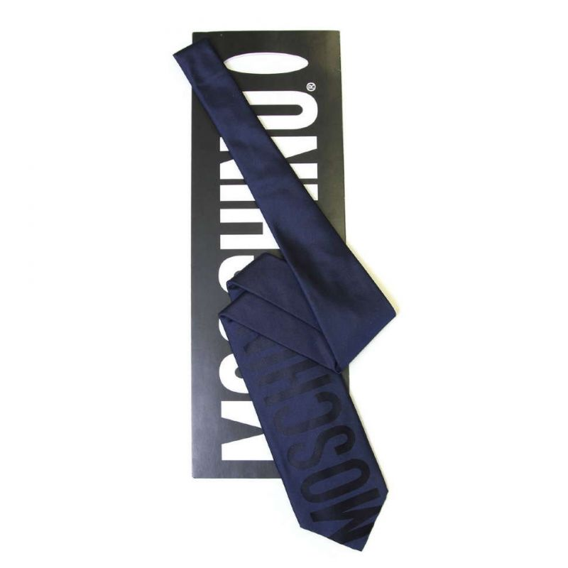 Тёмно-синий шёлковый галстук с надписью Moschino