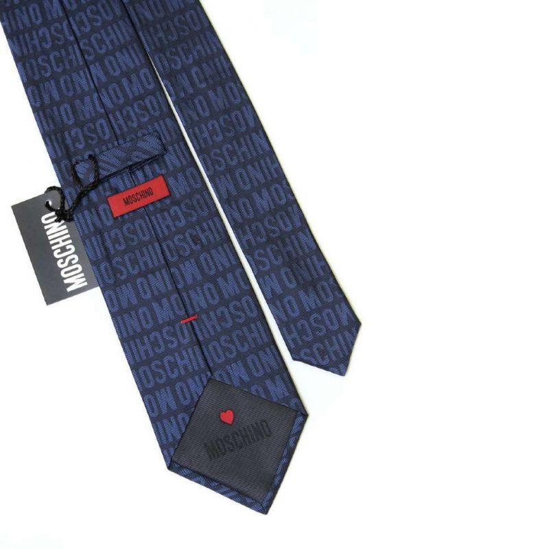 Синий шёлковый галстук с надписями Moschino