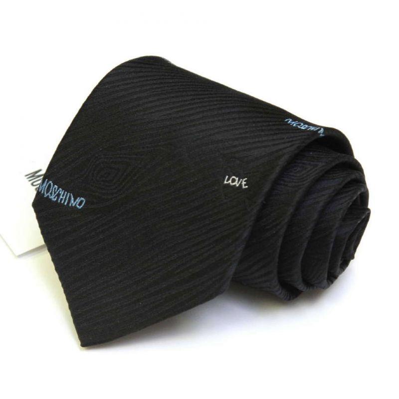 Чёрный с выделкой «древесина» шёлковый галстук Moschino