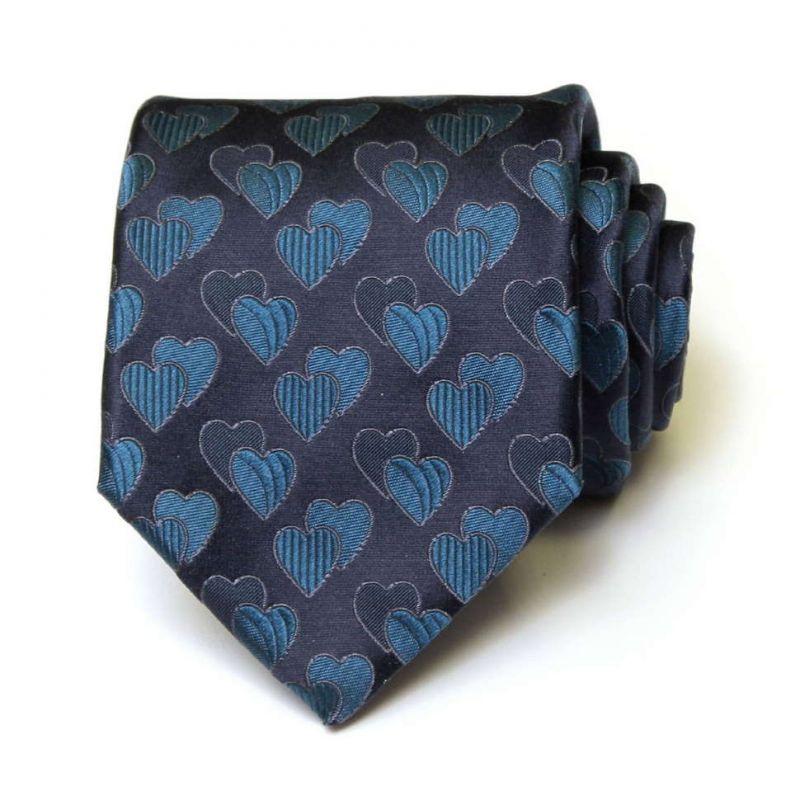 Синий галстук из шёлка Moschino с сердечками