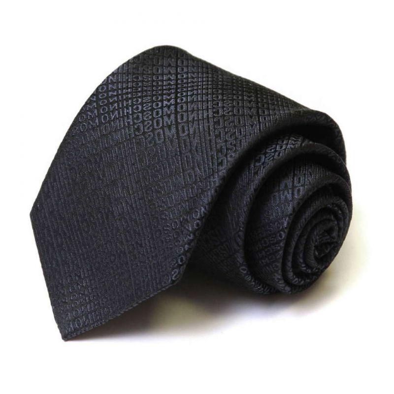 Чёрный шёлковый галстук Moschino с надписями
