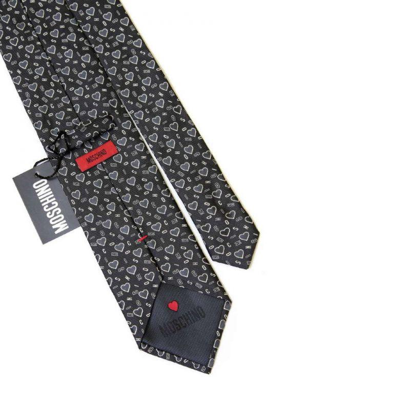 Тёмно-серый шёлковый галстук Moschino с сердечками