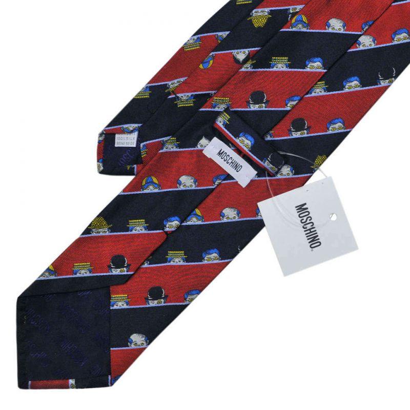 Шёлковый галстук Moschino с вышивкой – подглядывающие люди