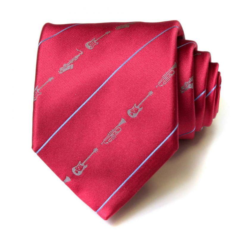 Красный шёлковый галстук Moschino с музыкальными инструментами
