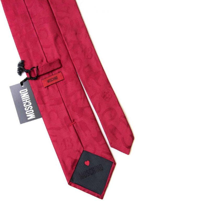 Красный шёлковый галстук Moschino с кошками