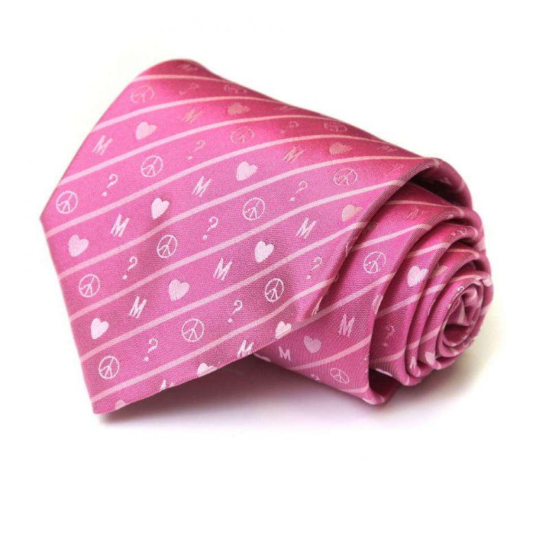 Розовый шёлковый галстук Moschino со значками «пацифик»