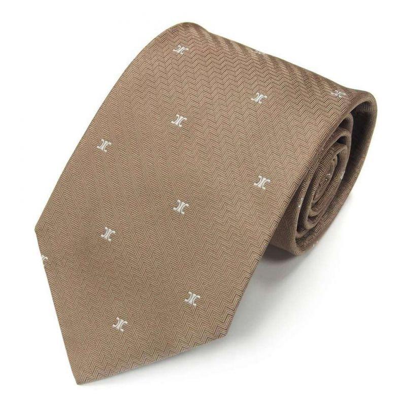 Бежевый шёлковый галстук с логотипами Celine с выделкой