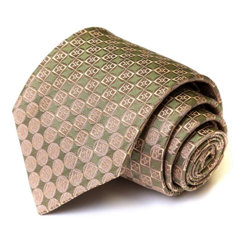 Бежевый в зелёную клетку шёлковый галстук Celine
