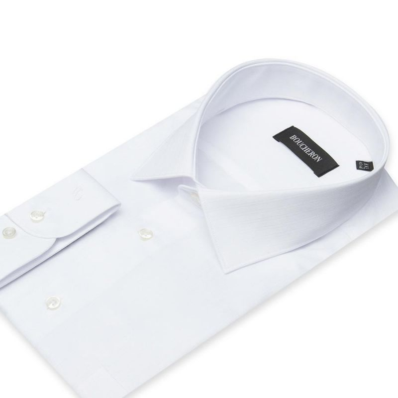 Рубашка белая однотонная, неприталенная, в полоску