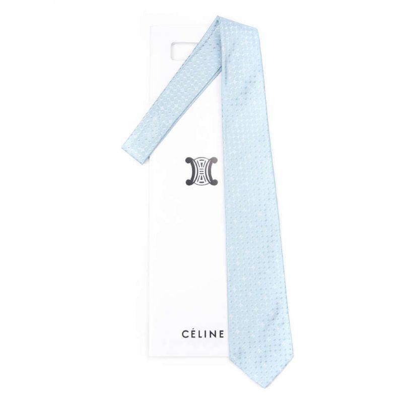 Голубой шёлковый галстук Celine с узором