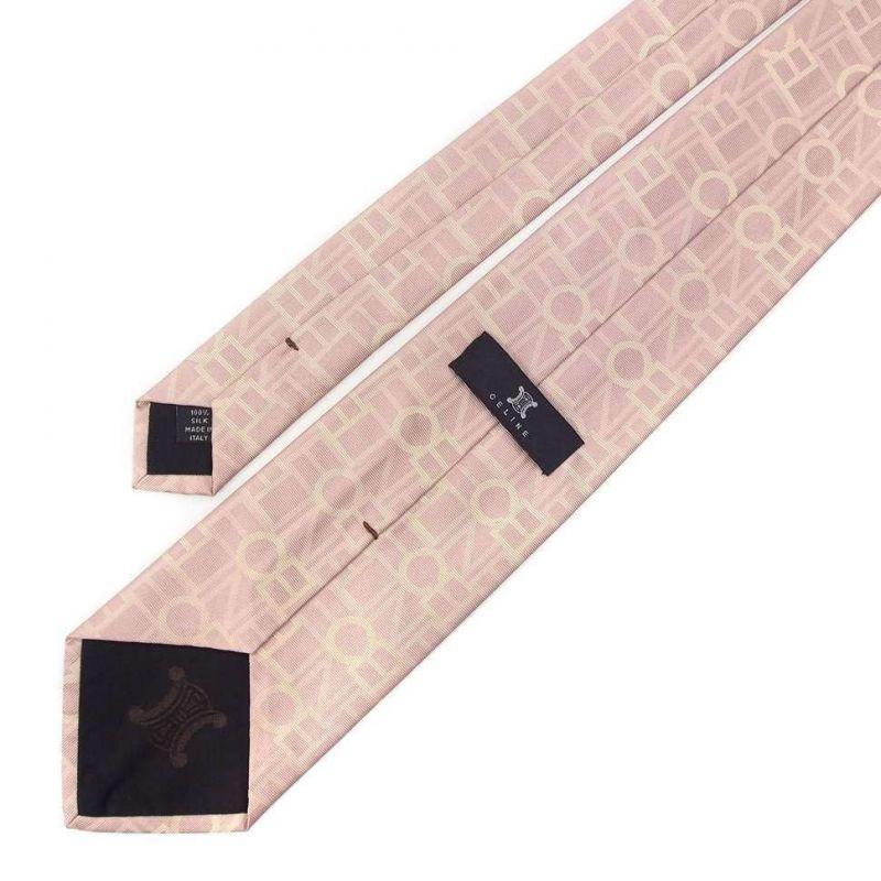 Бледно-розовый шёлковый галстук Celine с логотипами