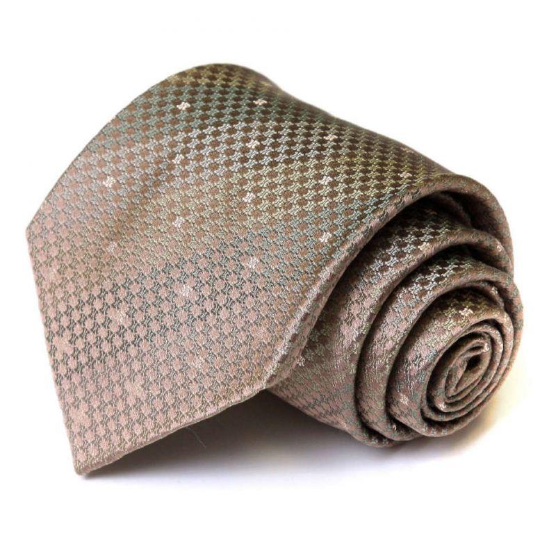 Коричневый шёлковый галстук Celine в мелкую клетку