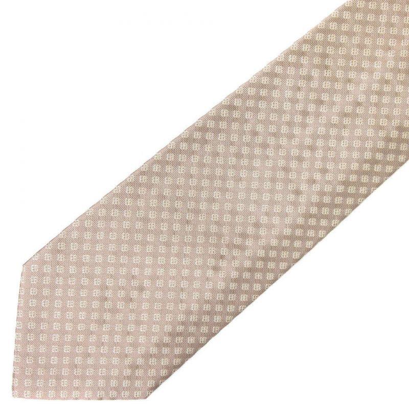 Светло-коричневый шёлковый галстук Celine с мелким принтом