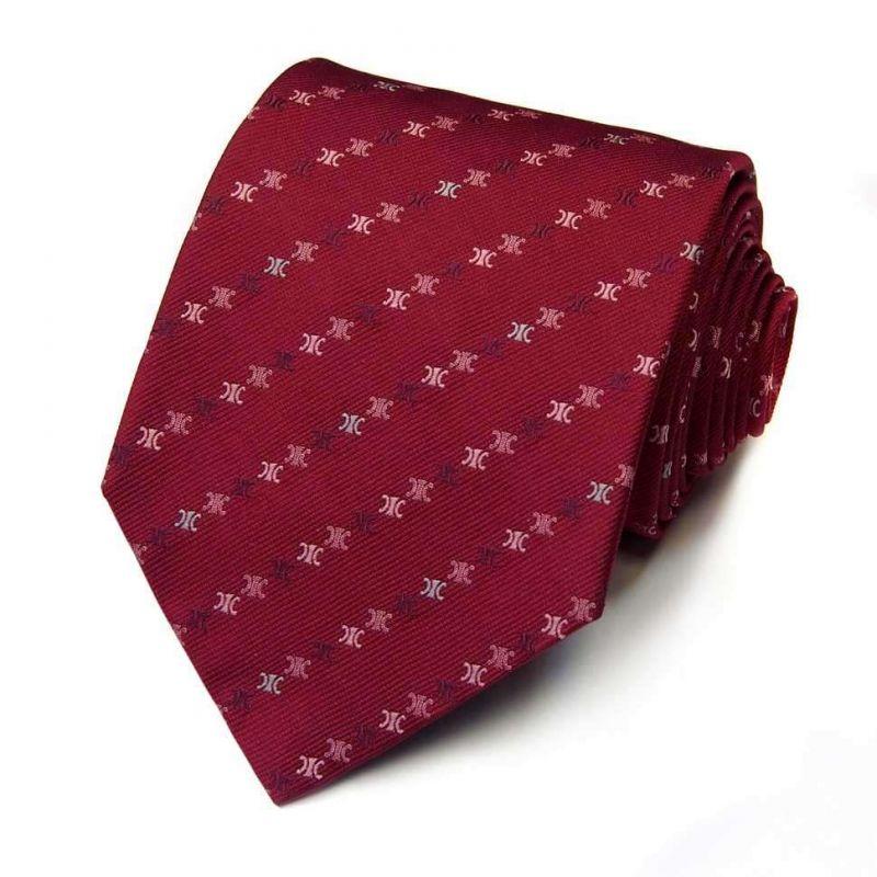 Бордовый шёлковый галстук с логотипами Celine