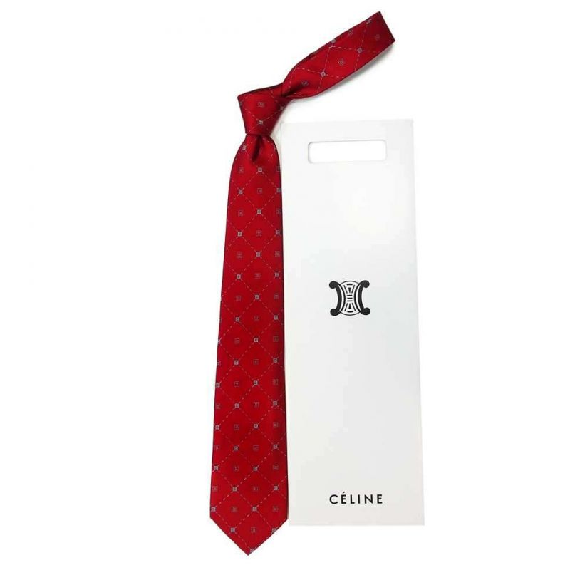 Бордовый шёлковый галстук с логотипами Celine в ромб