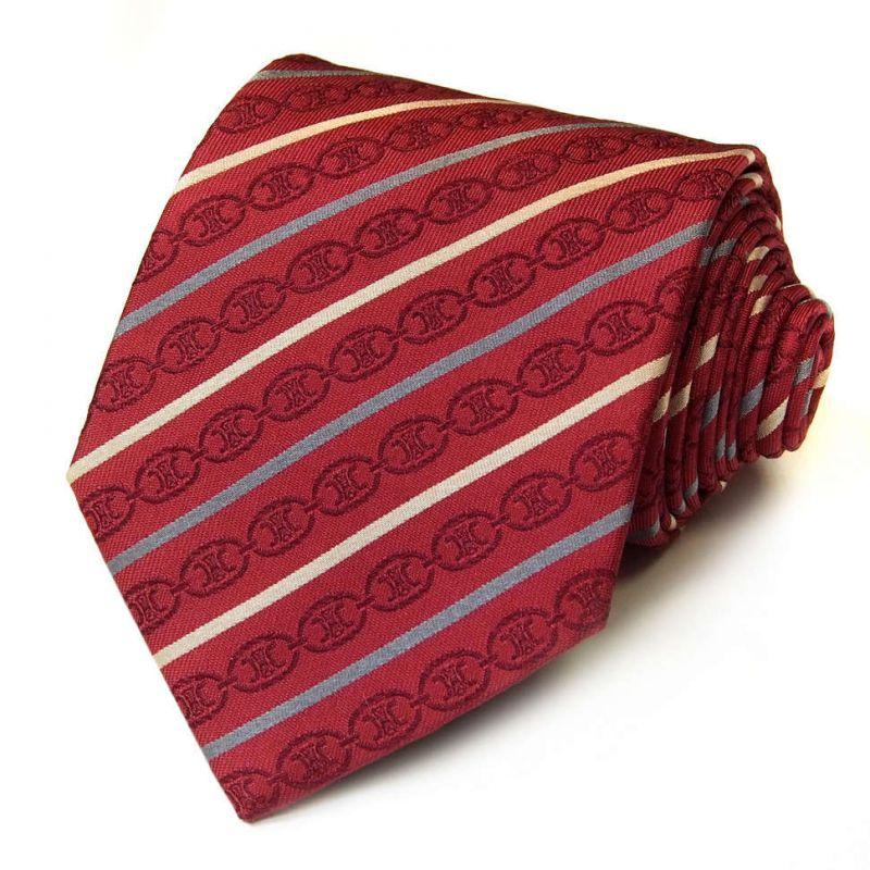 Вишнёвый шёлковый галстук Celine в дизайнерскую полоску