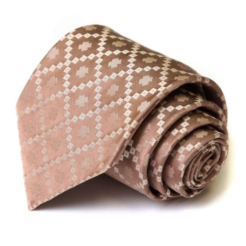 Светло-коричневый шёлковый галстук Celine в клетку