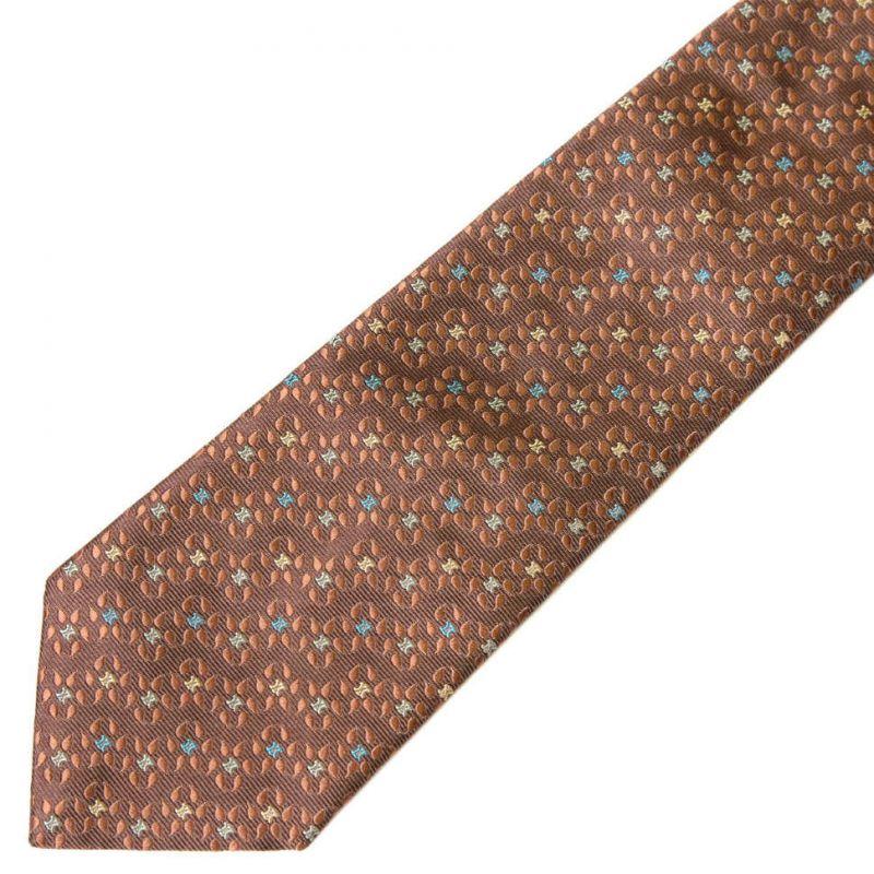 Коричневый шёлковый галстук Celine с мелким рисунком