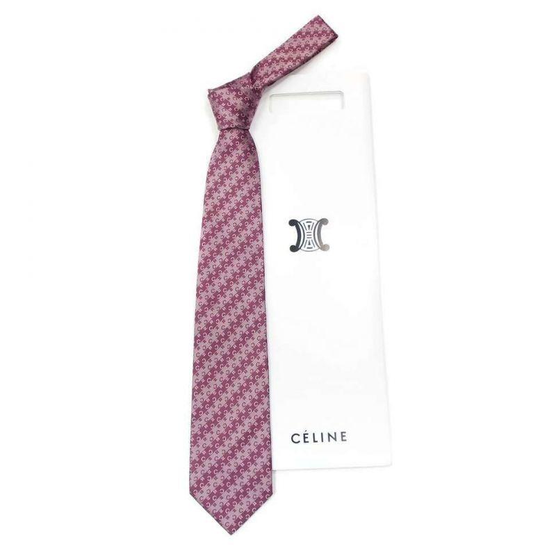 Пурпурный шёлковый галстук Celine в полоску