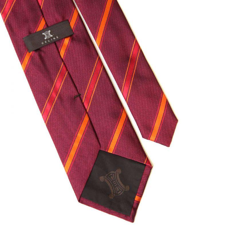 Красный шелковый галстук Celine в диагональную полоску