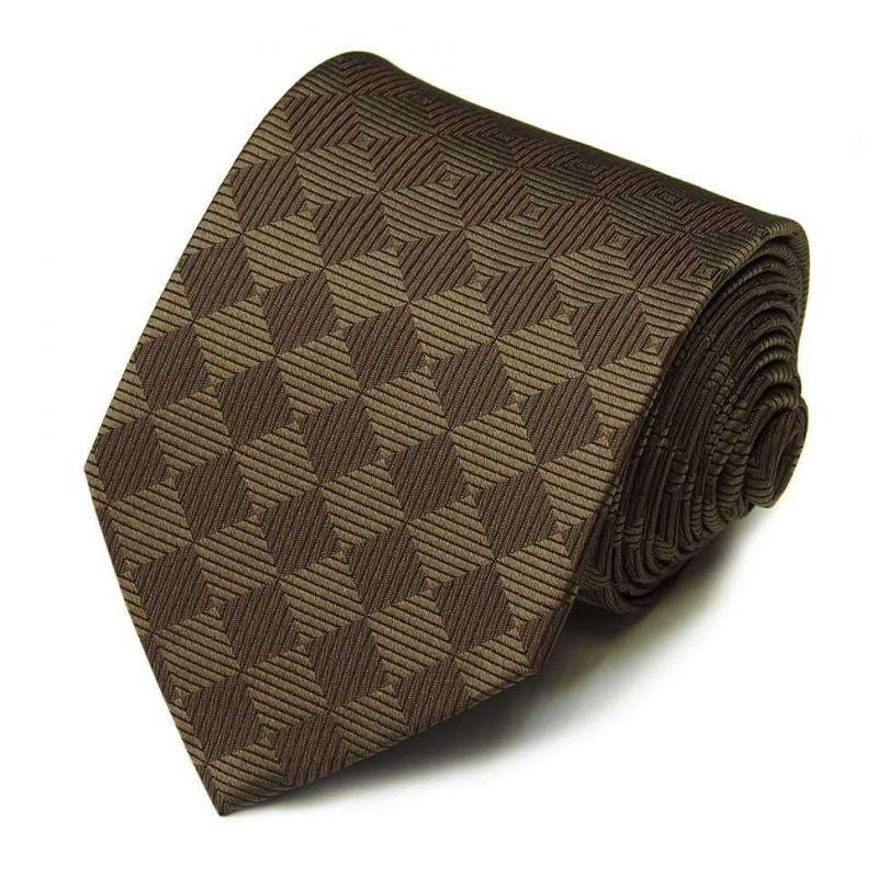 Коричневый шелковый галстук Celine в ромбик