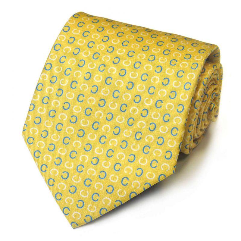 Лимонный шелковый галстук Celine в горошек