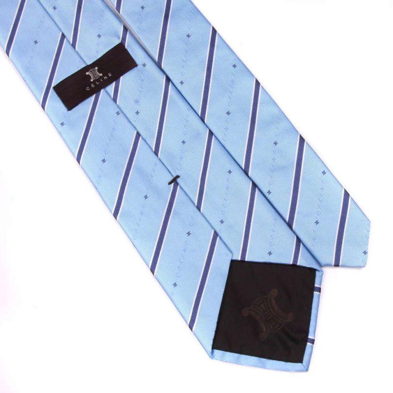 Голубой шелковый галстук Celine в полоску